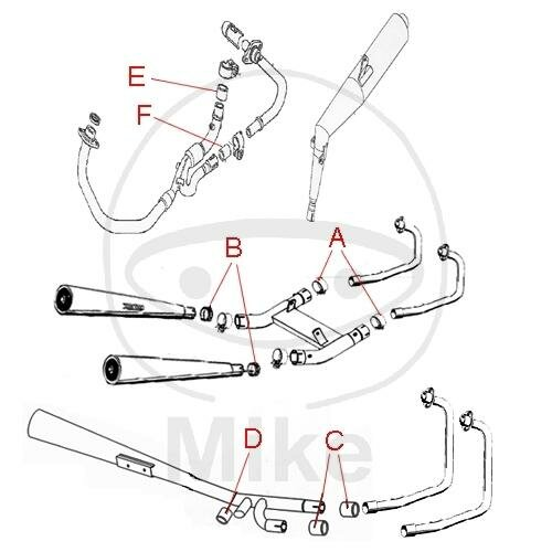 Exhaust connection gasket A for Triumph Rocket 2300 Thunderbird 1600 1700