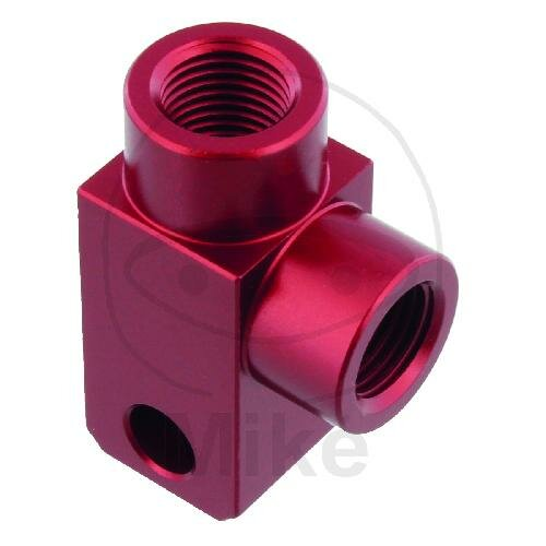 2-way distributor screwed angled type 812 M10 x 1.00 red
